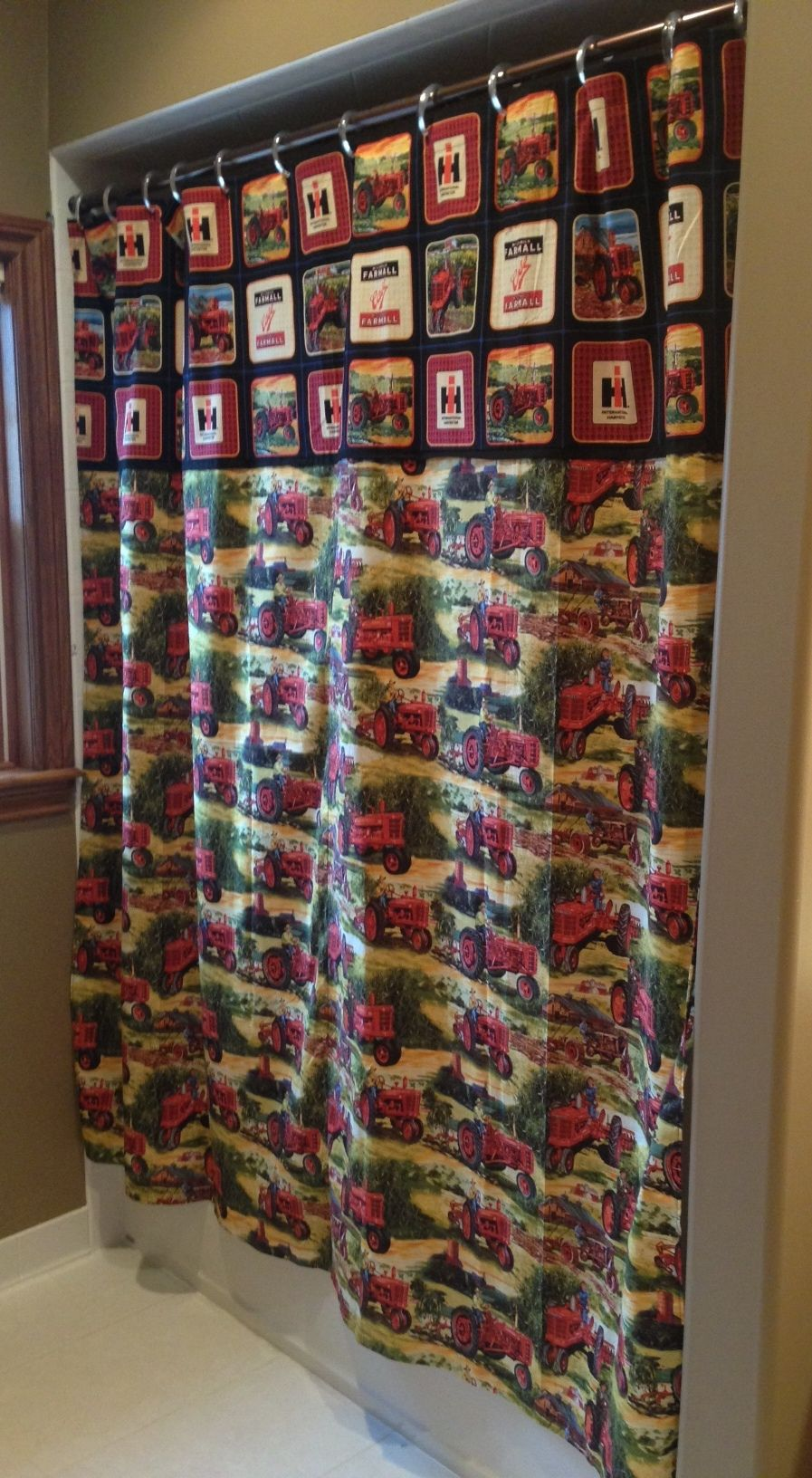 Farmall ih red tractor shower curtain tractor home decor for International harvester decor