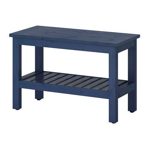 IKEA - HEMNES, Bank, blau, , Höhenverstellbare Fußkappen sorgen für ...