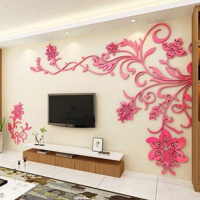 Acrylic wall stickers Wonderful TV Background Decoration Flowers ...