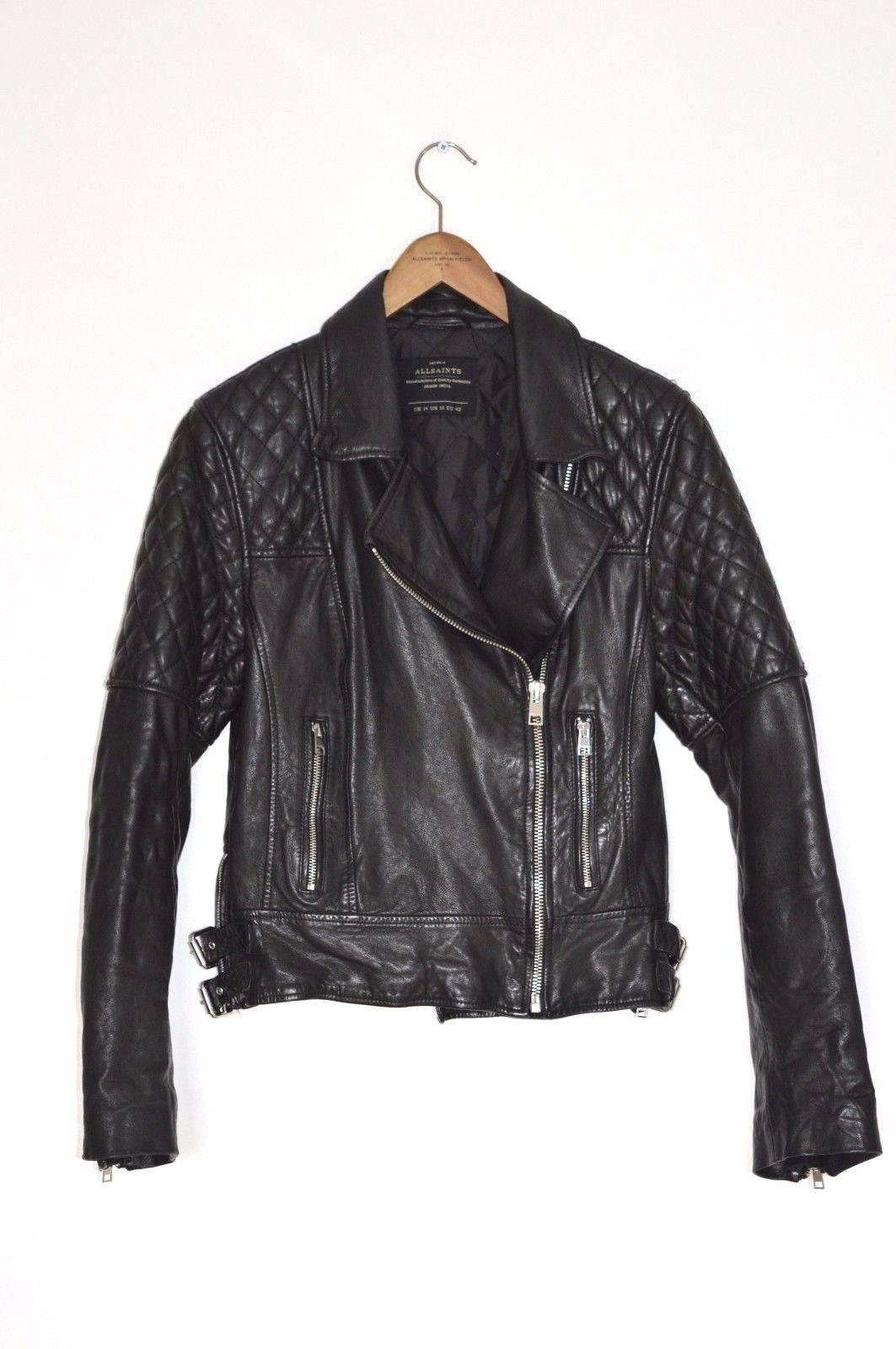 STUNNING RARE AllSaints Ladies Black WALKER Leather Biker