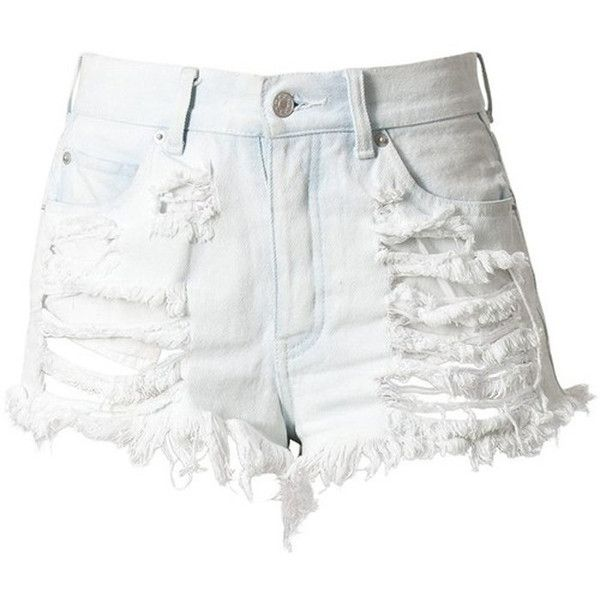 bd1809ae0 White High Waisted Denim Shorts - Destroyed (1,740 PHP) found on Polyvore