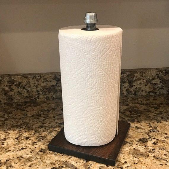 Rustic Industrial Paper Towel Holder Paper Towel Stand Paper | Etsy #papertowelholders
