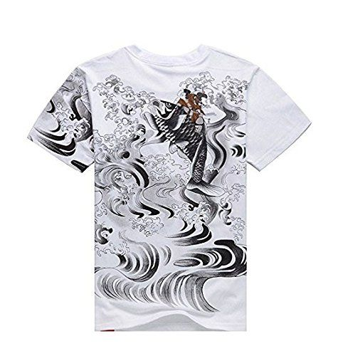 Amazon Com Ssj Japanese Traditional Design Rising Carp T Shirts Two Color Two Size For Men Kanji Tee L Hip Tattoo Sleeve Tattoos For Women New Tattoos