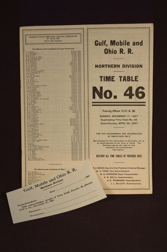 60s Employee Train Time Table Gulf Mobile & Ohio Railroad | Trains
