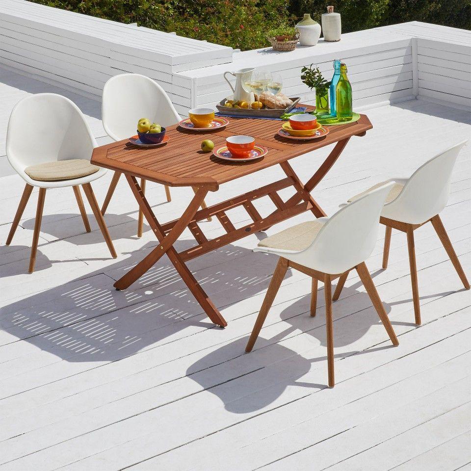 Gartenmöbel-Set Santa Fe/Palmas (85x150, 4 Stühle, weiß) - Dänisches ...