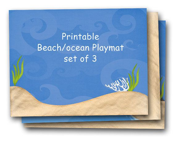 printable play mat beach and ocean scenes, playmat set, digital