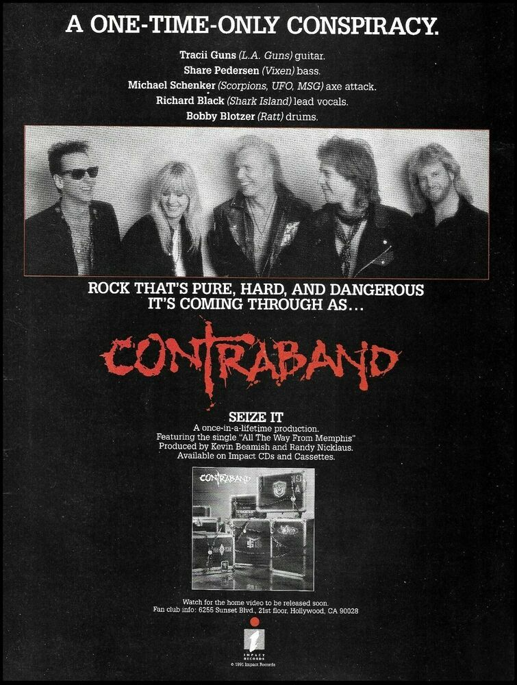 Contraband 1991 Impact Records Ad Michael Schenker Tracii Guns Share Pedersen Impactrecords In 2020 Contraband Ads Records