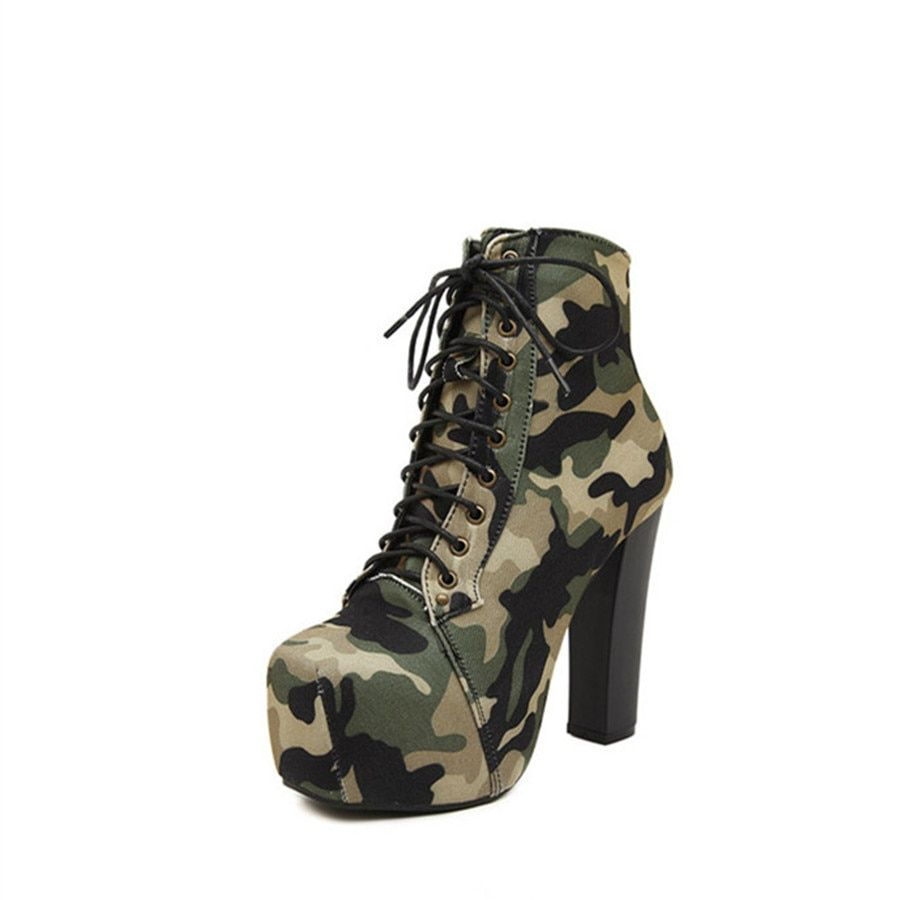 af03092a LUCYLEYTE Square head camouflage army boots lace cross straps women's shoes  platform high heel rough with women's boots-in Ankle Boots from Shoes on ...