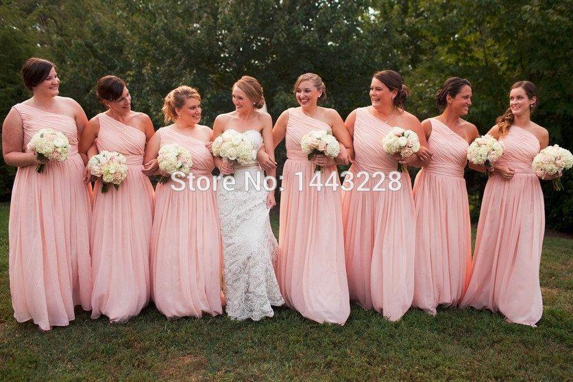 One Shoulder Long Chiffon Blush Pink Bridesmaid Dresses Floor Length Gown Vestido De Madrinha In