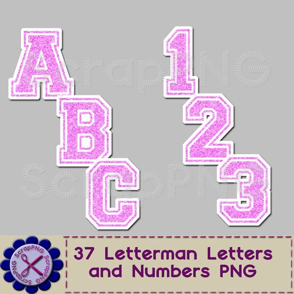 Letterman Scrapbooking Letters Pink Glitter Lot Of 37 Digital