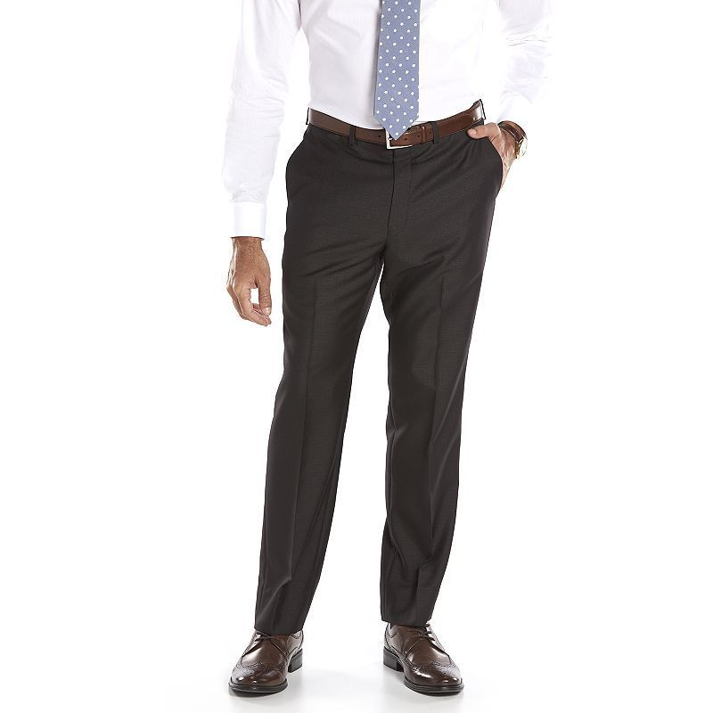 Men's Andrew Fezza Slim-Fit Charcoal (Grey) Checked Suit Pants, Size: 32X30