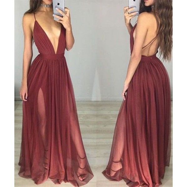 simple v neck chiffon Burgundy long prom dress, evening dress ❤ liked on Polyvore featuring dresses, gowns, long prom gowns, red evening dresses, prom dresses, long gowns and red ball gown