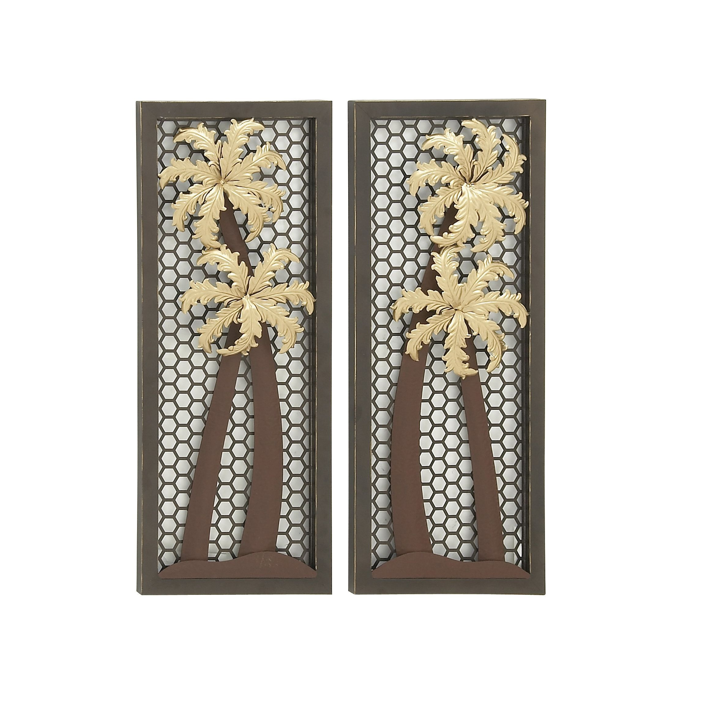 Iron Decorative Wall Pieces Palm Trees Metal Wall Decor 2 Assorted Metal Wall Decor Brown