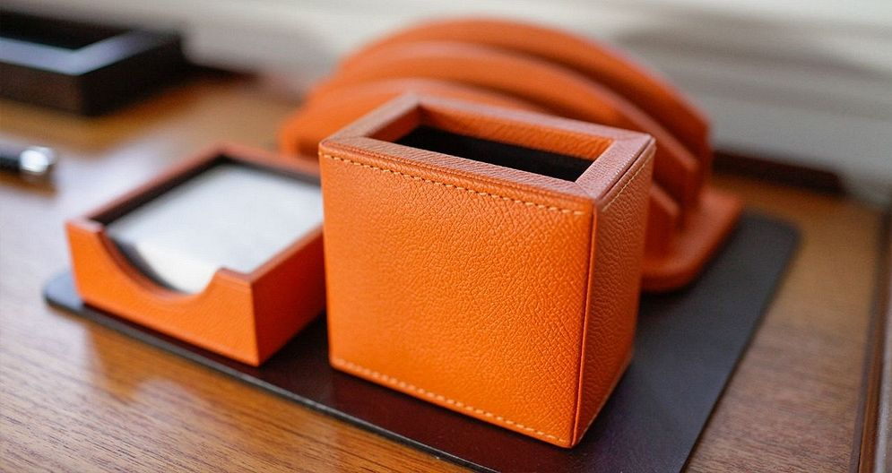 Exclusive line of leather desk accessories pencil holder