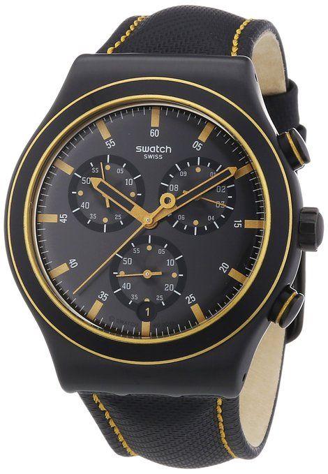 Swatch New Irony Chrono Noho Time YVB400 - Reloj cronógrafo de cuarzo para hombre, correa de cuero color negro (cronómetro)