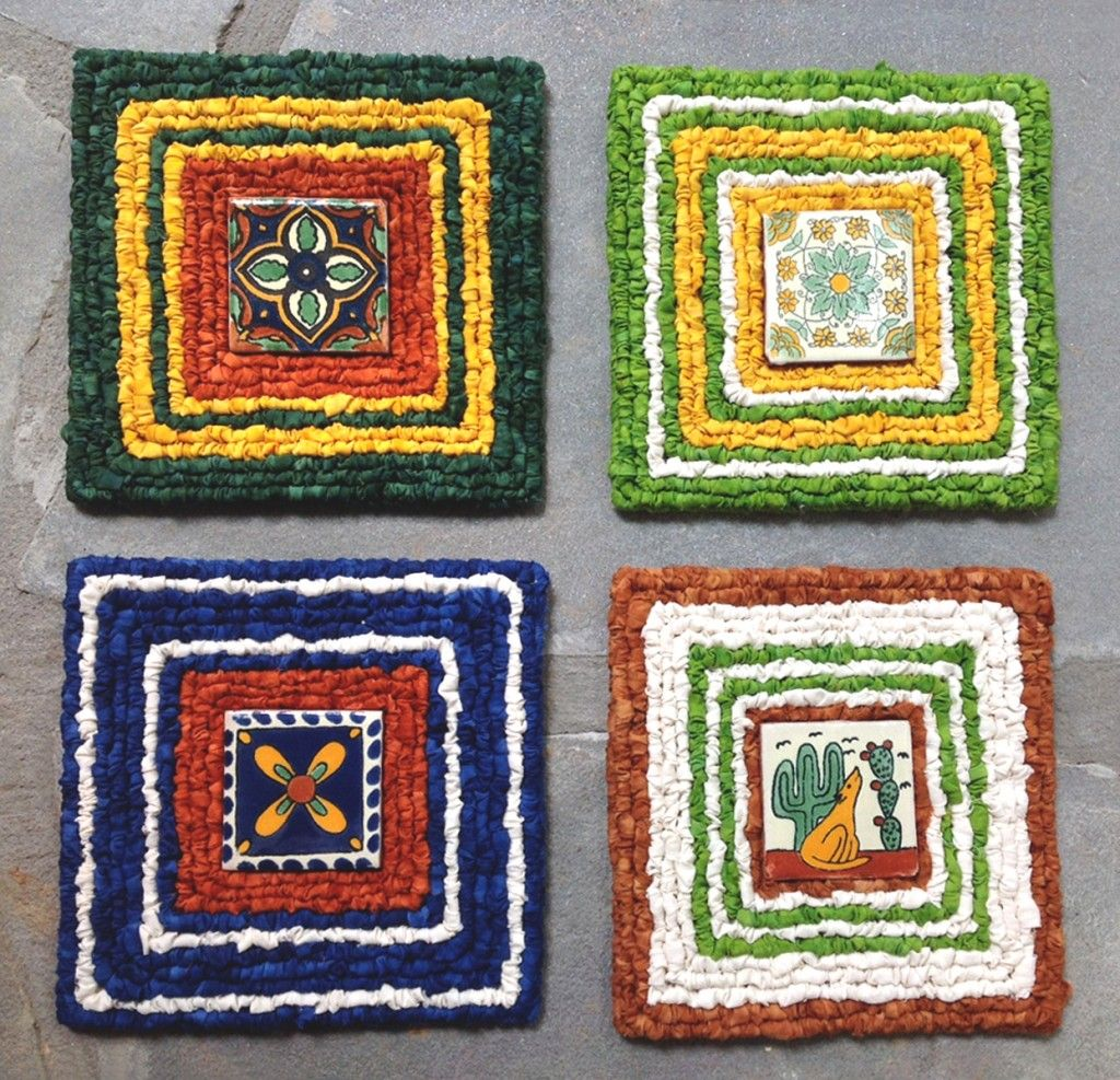 Joan Booth 39 S Locker Hooked Trivets With Ceramic Tiles