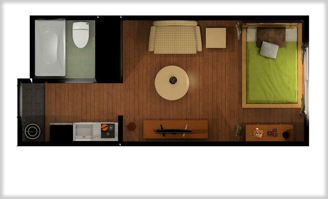 ベッドを隠せ 縦長ワンルームでやりやすい天蓋っぽいカーテン仕切り