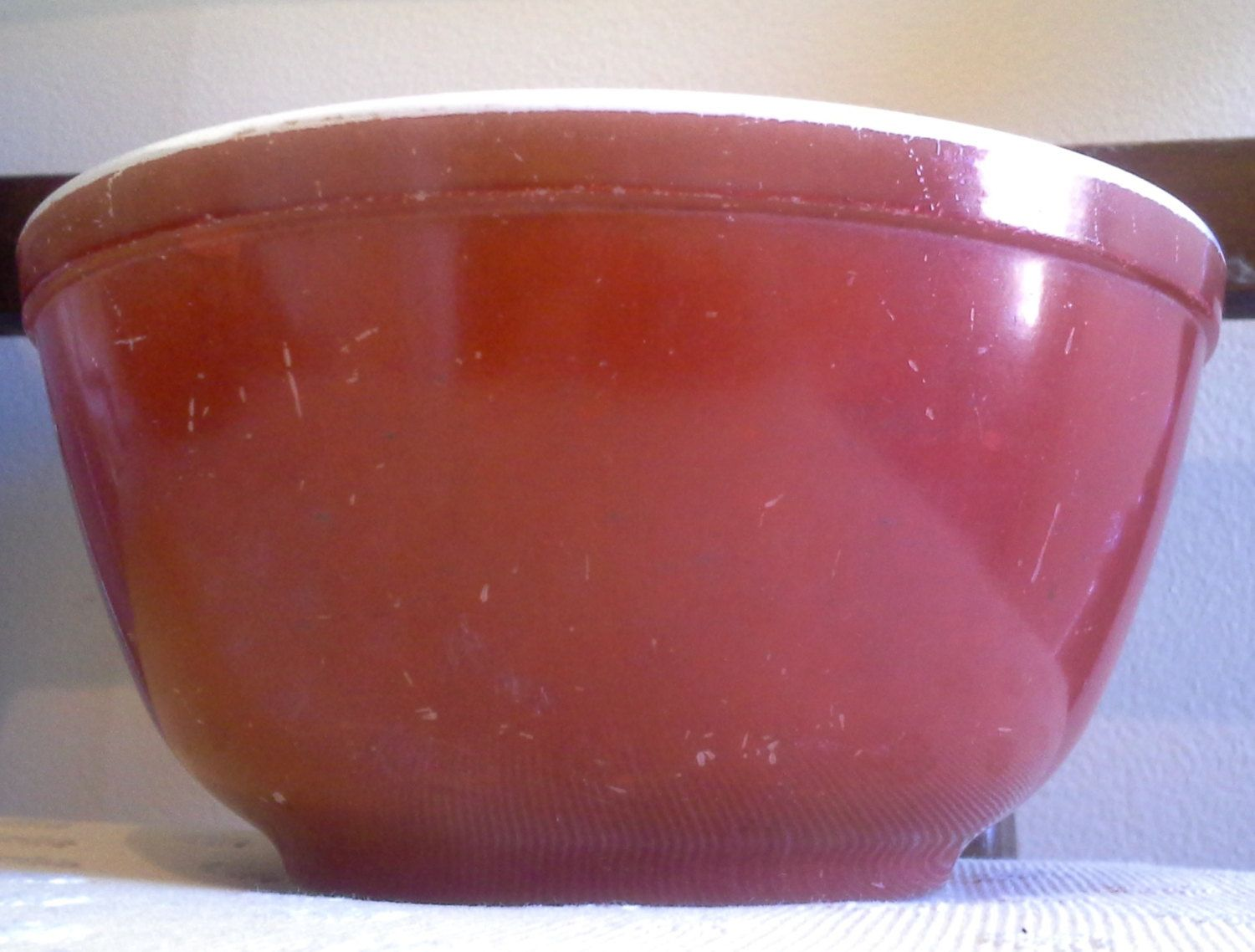 Vintage Maroon Pyrex Mixing Bowl With Banded White Rim, Pyrex, Red ...