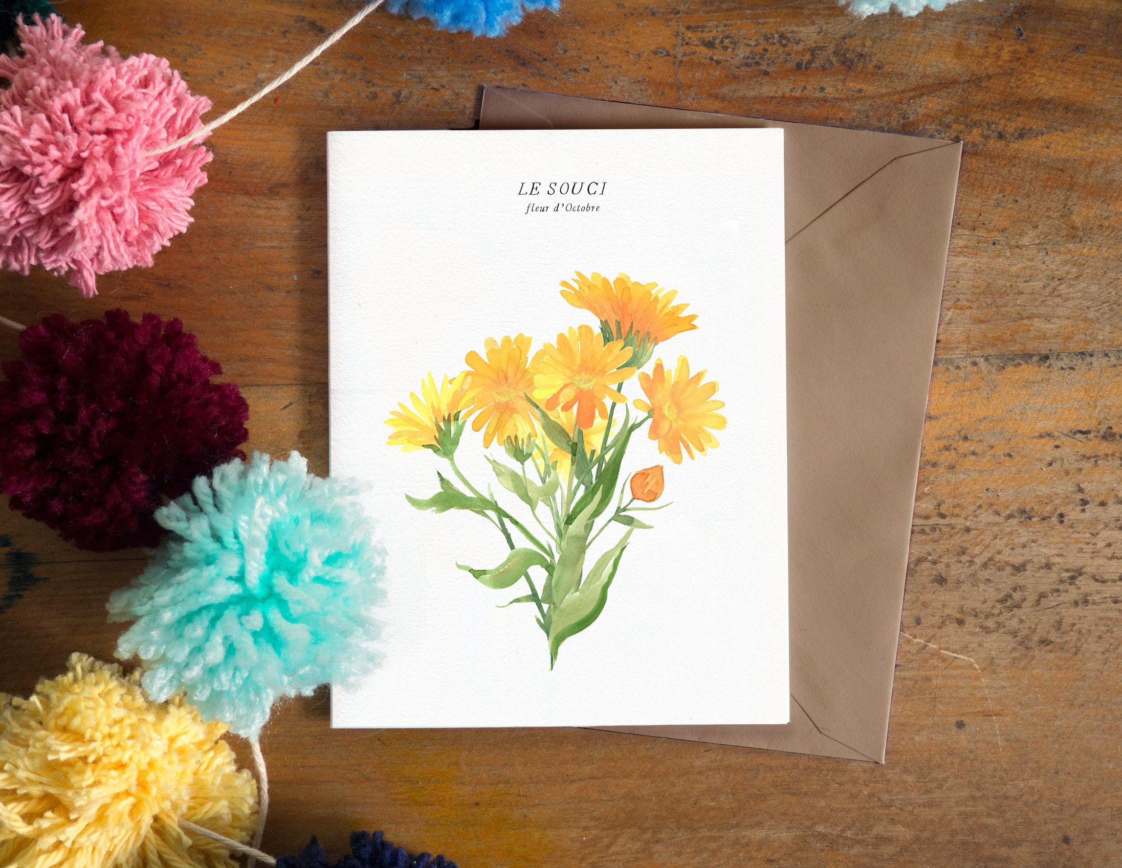 Pot Marigold Watercolor Flower Greeting Card October Birthday Card