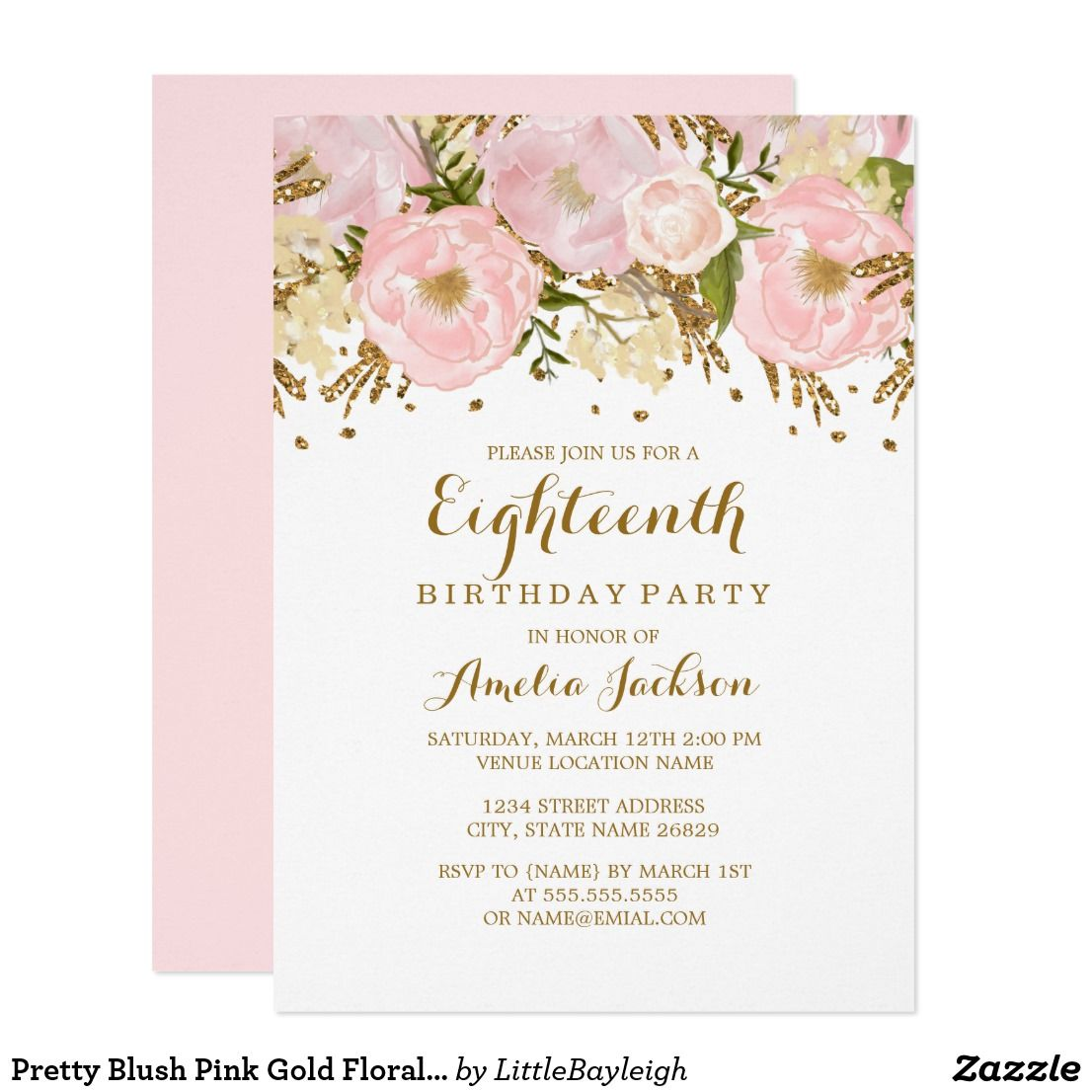 Pretty Blush Pink Gold Floral 18th Birthday Invitation Zazzle