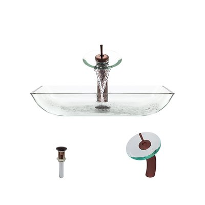 MRDirect Glass Rectangular Vessel Bathroom Sink Sink Finish: Crystal, Faucet Finish: Oil Rubbed Bronze