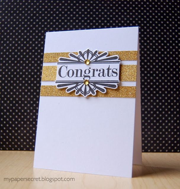 Glittered Congrats Card by Cristina Kowalczyk for Papertrey Ink (November 2013)