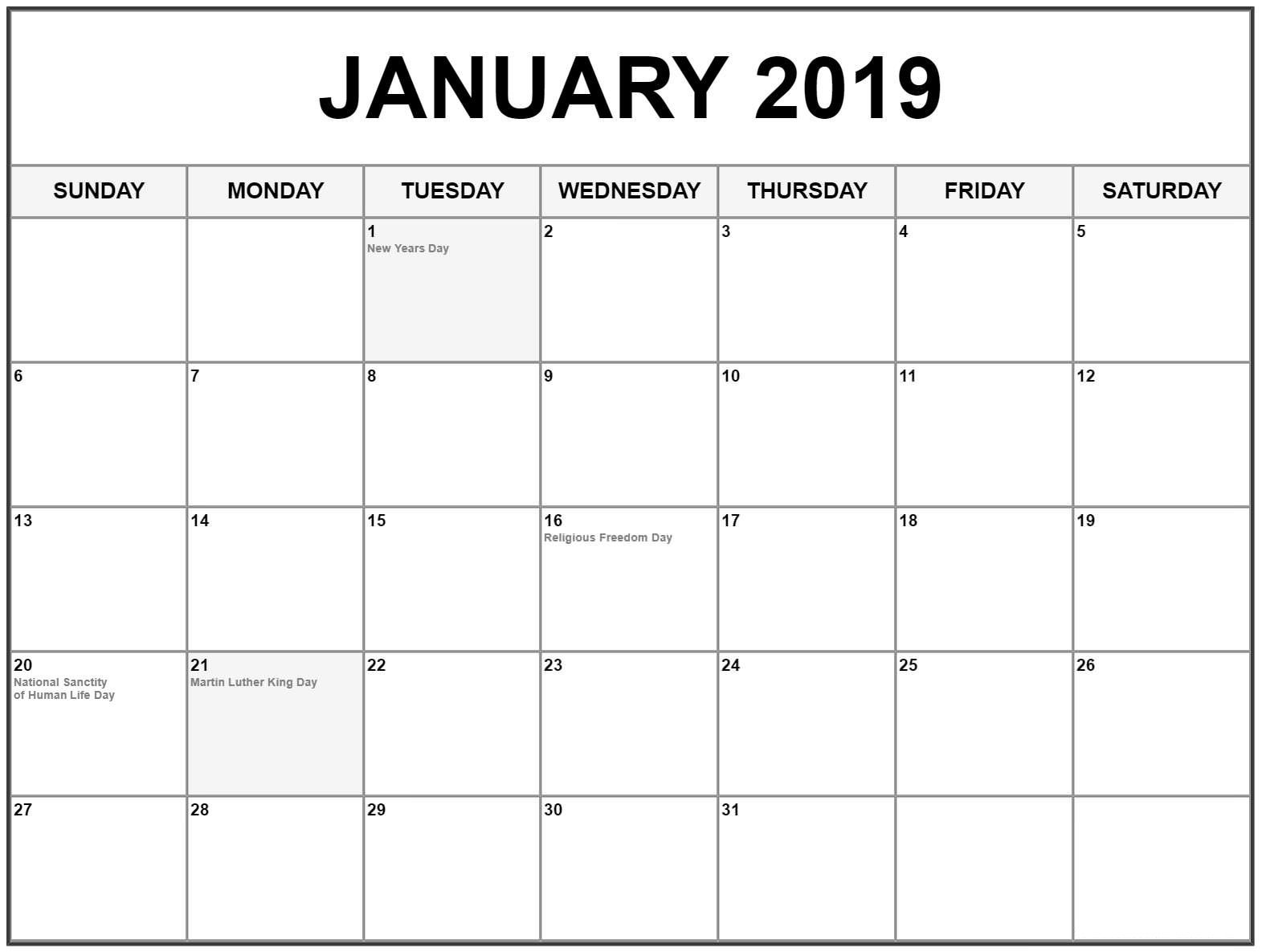 January 2019 Calendar Us Holidays January 2019 Calendar #Editable Template For Word | Free Printable