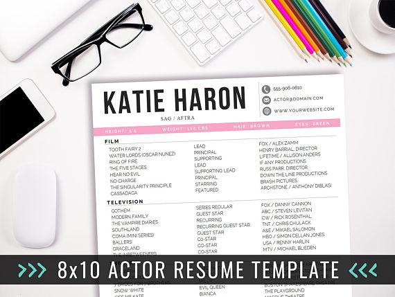 Actor Resume Template / 8 x 10 Acting Resume / Instant Digital