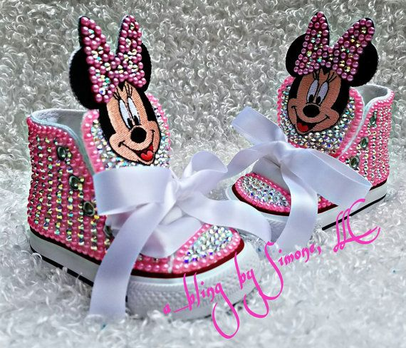 e20f5a95d348 These Minnie Mouse customs are so darling. They can be customized in any  color or size. High quality crystals are used for a clean look.