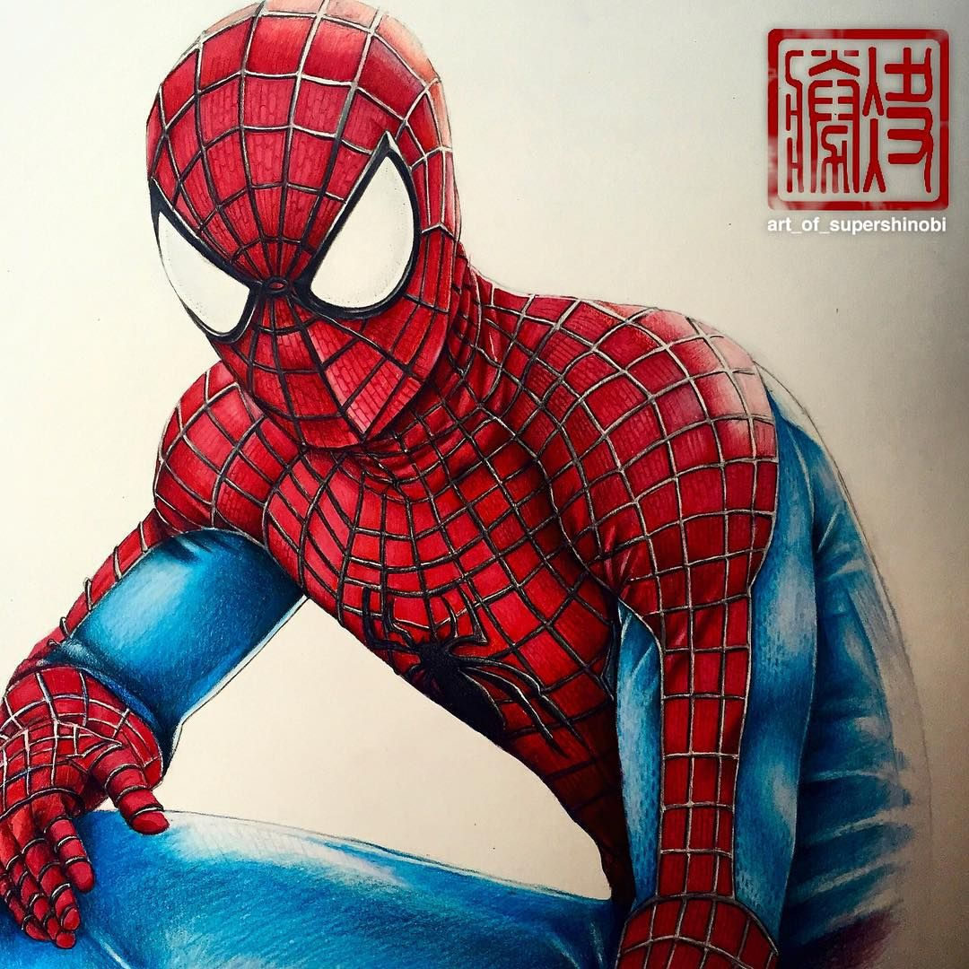 Spider man drawing copic markers and prismacolor pencils - Et spider man ...
