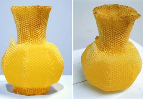 il aura fallu le labeur de 40000 abeilles pendant une semaine pour fabriquer ce pichet a partir d'une structure de base du designer Thomas Gabzdil Libertiny.2012.