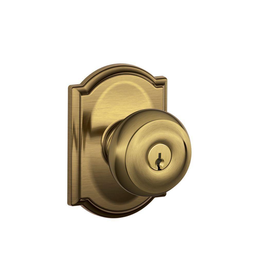 Antique brass front door knobs  Georgian Antique Brass Entry Door Knob with Camelot Trim  Products