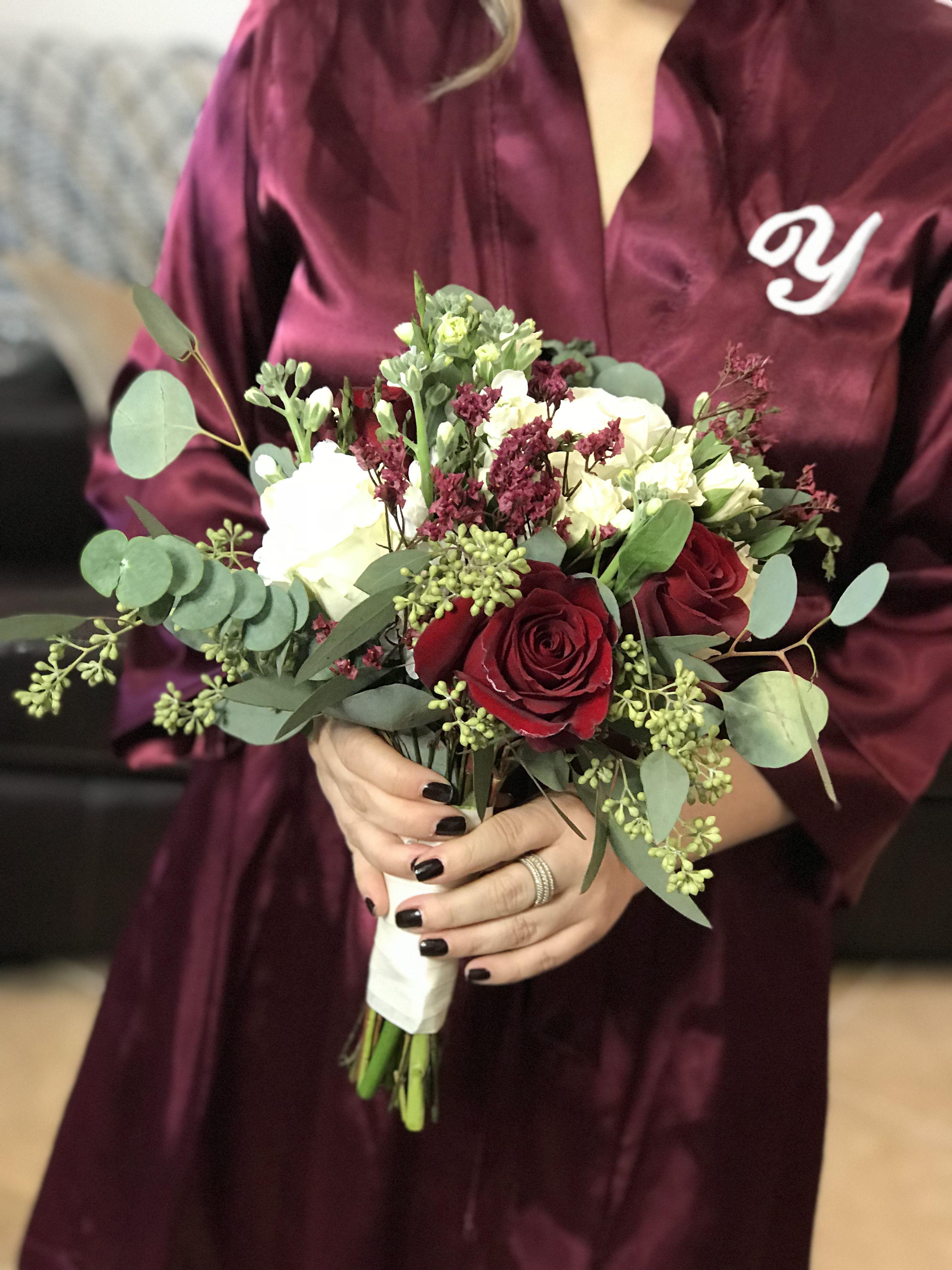 Burgundy and White Bridesmaid bouquet. Wedding Bouquet