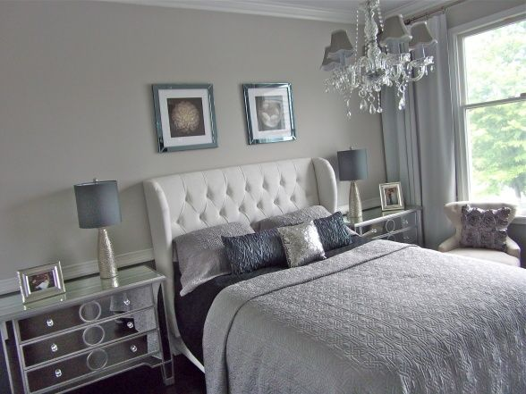 Silver Grey Glam Bedroom Grey Bedroom Design Bedroom Interior