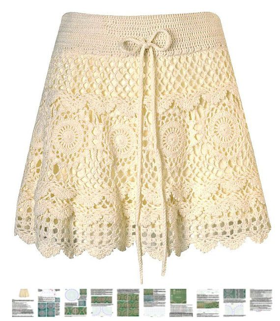 Mini skirt crochet PATTERN boho crochet skirt por FavoritePATTERNs ...