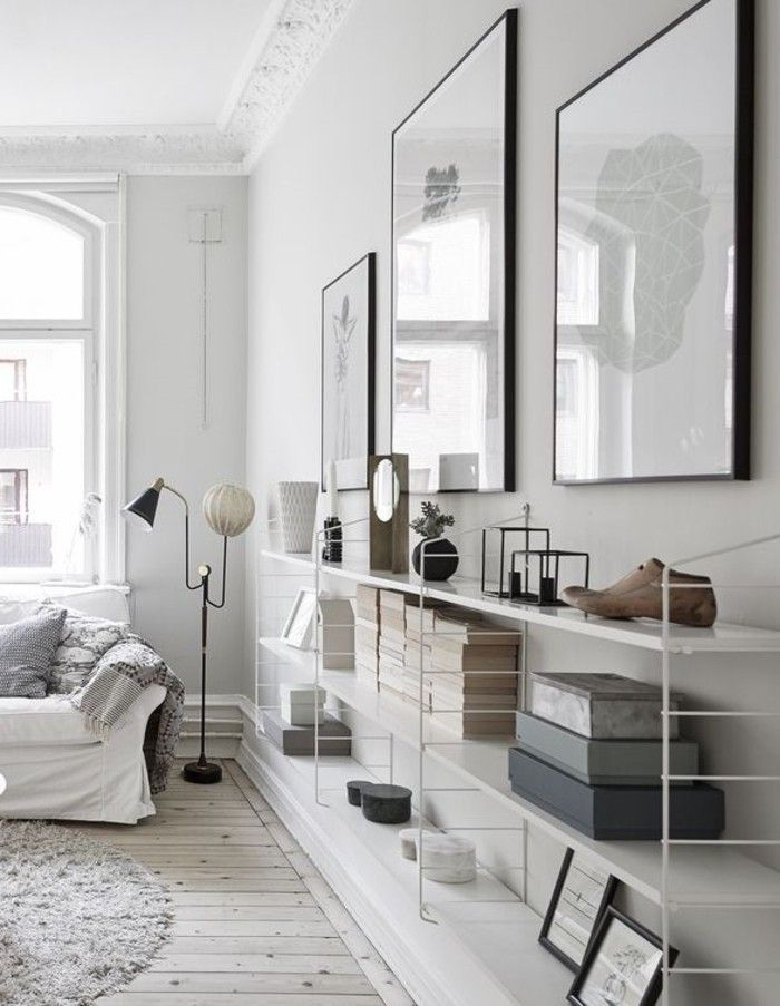 Delightful White Wall Paint Living Room Interior Design Ideas Open Shelf Decorating