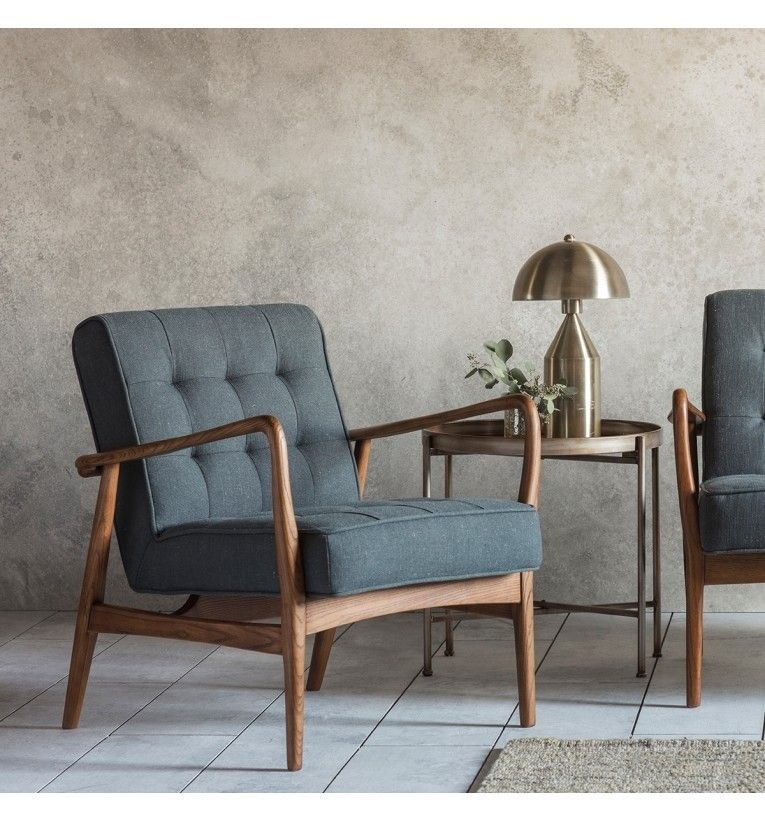 Prominent Stoelen Outlet.Humber Armchair Dark Grey Linen Brown Leather Chairs Grey