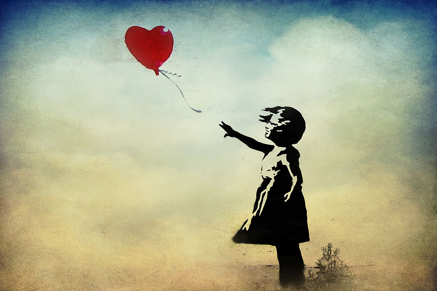 Girl with a Balloon Watercolor Canvas Print by Banksy | Watercolor ...