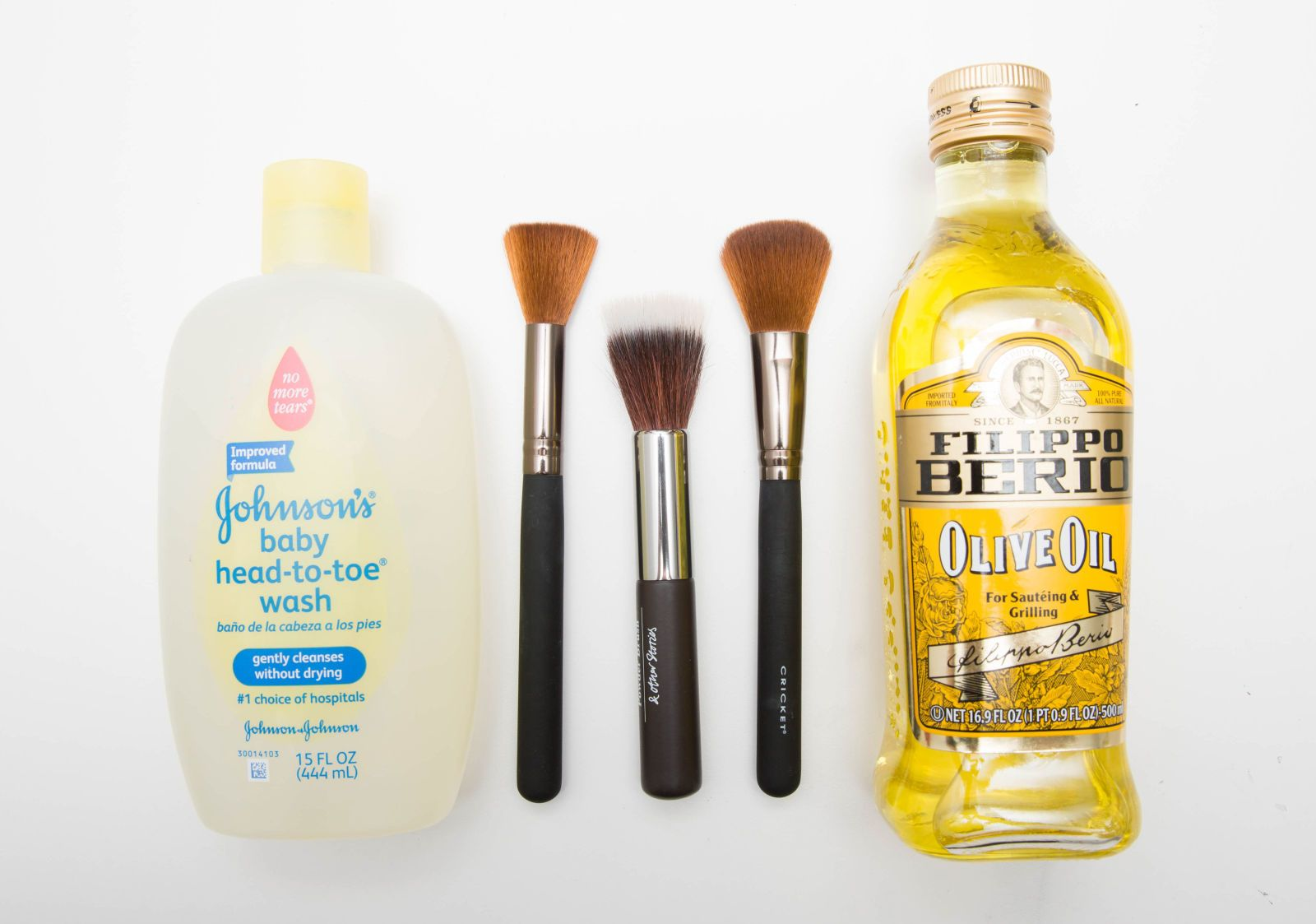 Makeup brushes are expensive, so make sure to wash and condition them with baby shampoo (or dish detergent) and olive oil regularly.