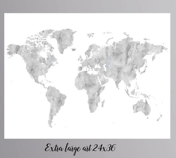 Grey world map gray world map large world map instant download world grey world map gray world map large world map instant download world map wall art world gumiabroncs
