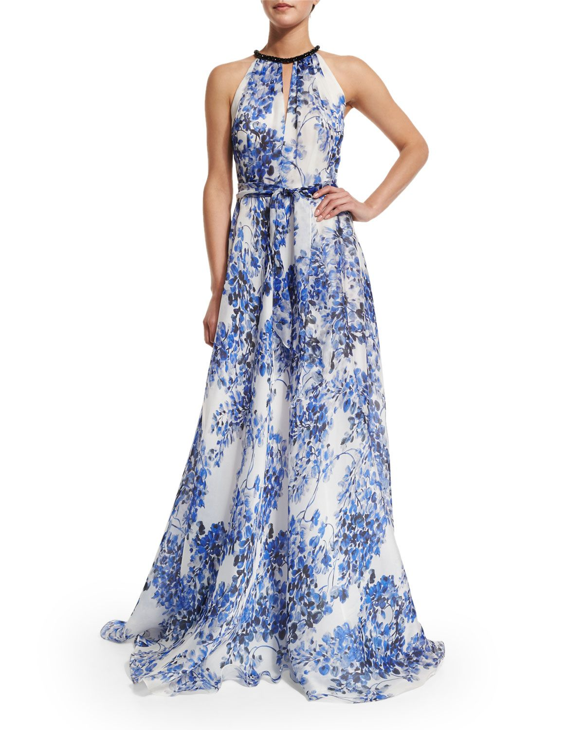 ae73d85ee Sleeveless Halter Floral-Print Gown