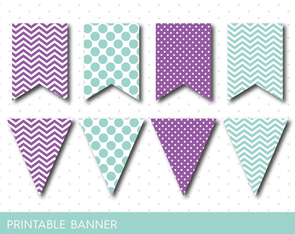 Mint Party Banner Purple Birthday Baby Shower