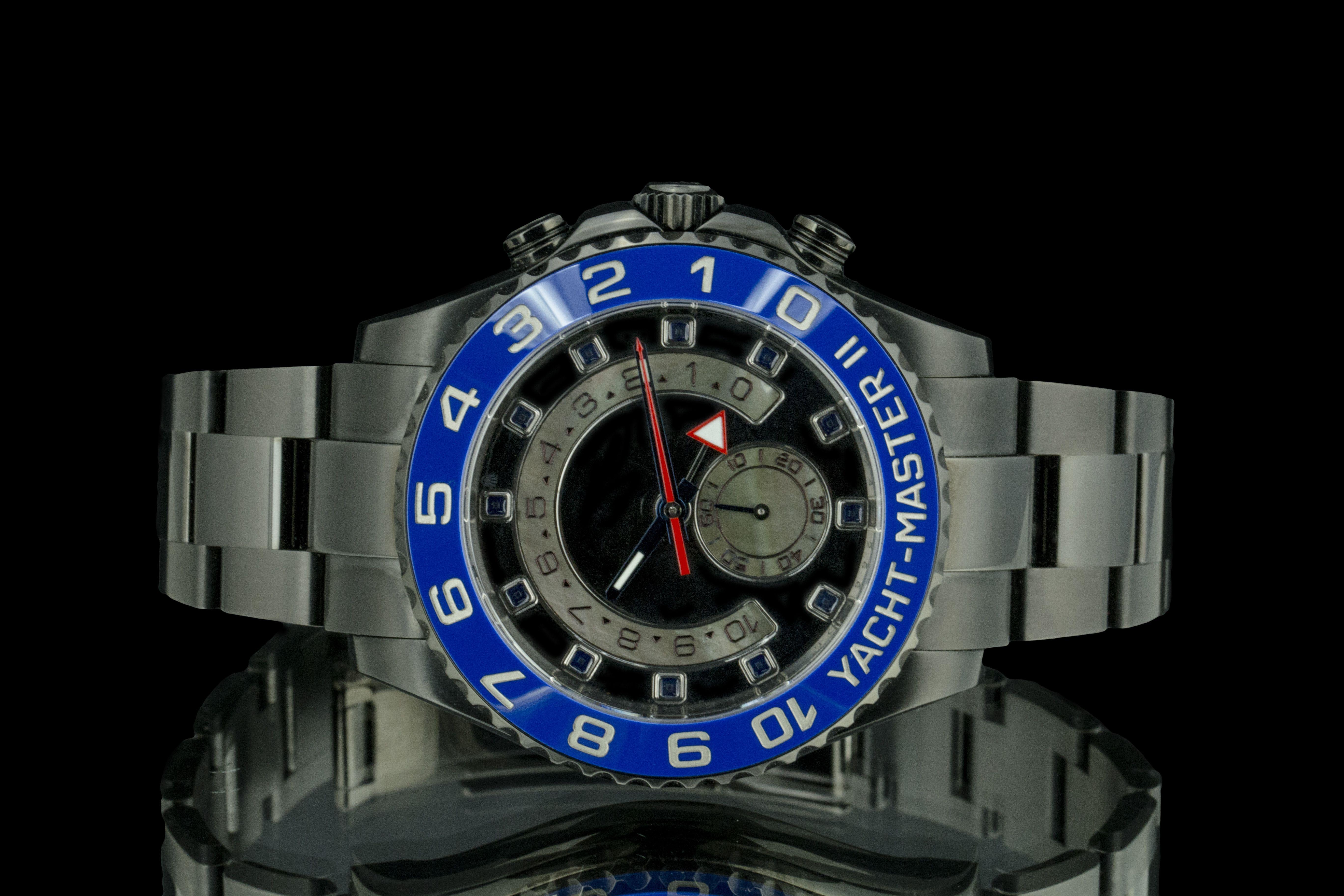 Rolex Yacht Master Ll Pvd Black Dial Blue Bezel Rolex Rolex Yacht Master Rolex Watches Women