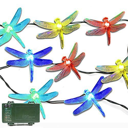 Lalapao Battery Operated Optional Automatic Timer String Lights 20 LED Dragonfly Fairy Christmas Lighting Decor with 5 Modes For Outdoor Indoor Garden Patio Bedroom Wedding Decorations Multi Color -- Be sure to check out this awesome product.