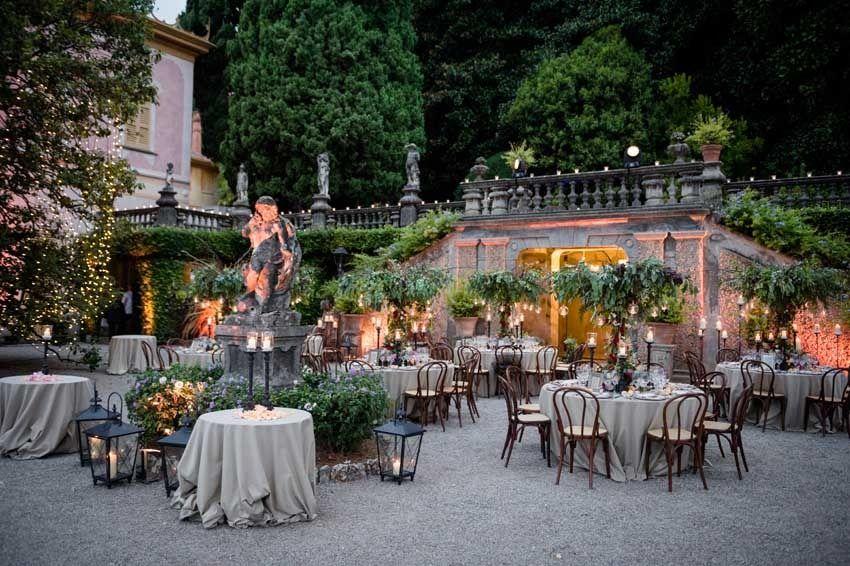 Wedding Dinner On Lake Como In The Gardens Of Villa Pizzo In