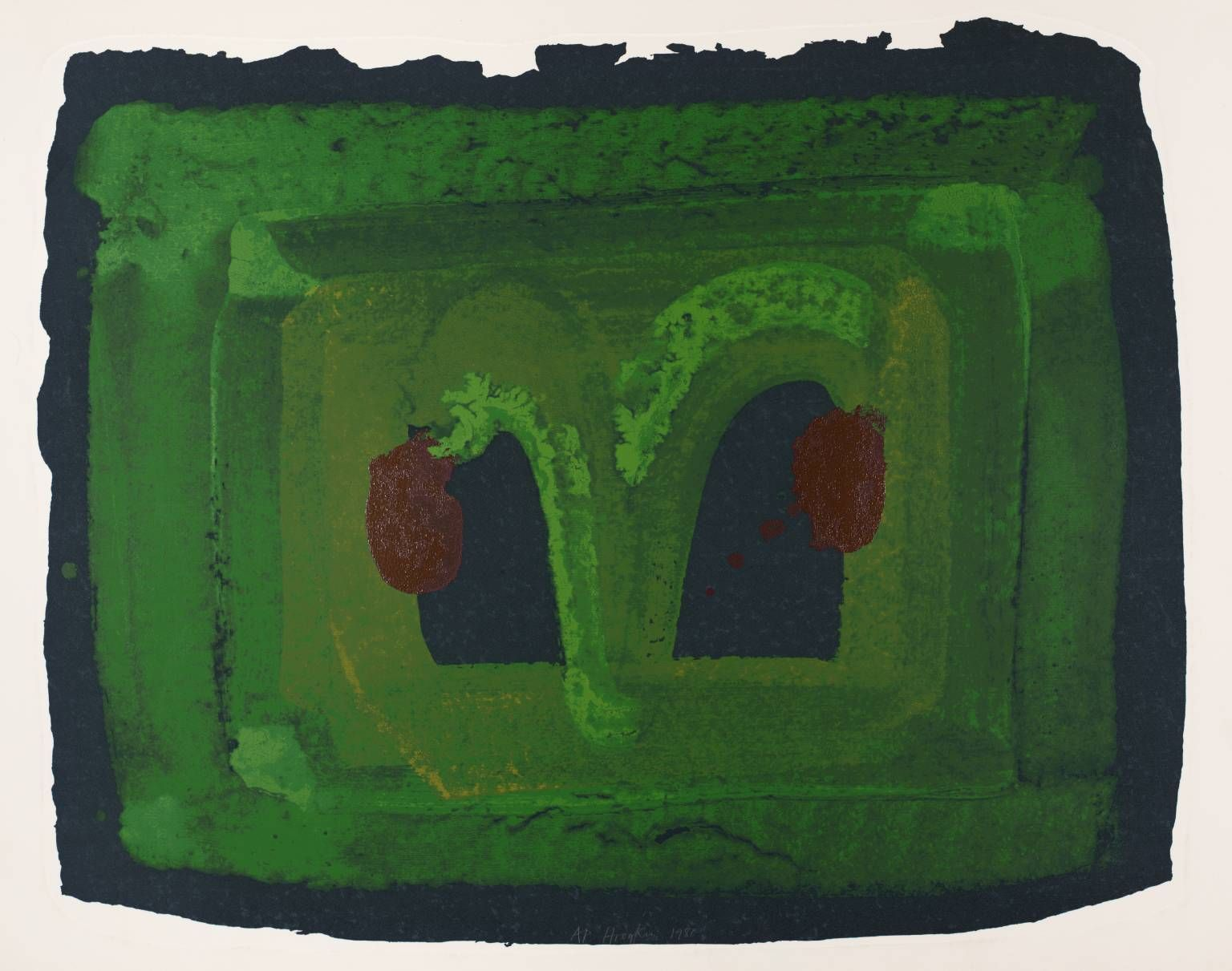 Howard Hodgkin 'Lotus', 1980 © Howard Hodgkin  Artist Howard Hodgkin born 1932 Title Lotus Date 1980 Medium Screenprint on paper Dimensions Image: 724 x 908 mm Collection Tate