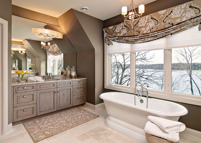 Master Bathroom With A Beautiful Gray Stained Knotty Alder Vanity And Vaulted Ceiling With An