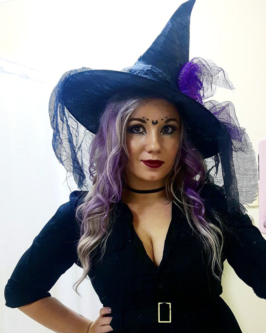 Witch Costume And Makeup For Halloween 2017 Purple Blonde Hair Purple Blonde Hair Blonde Blonde Hair