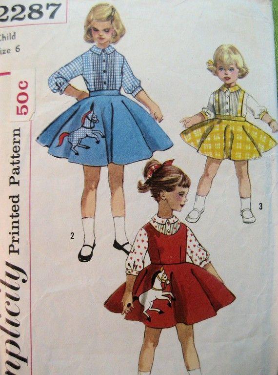 aaae393a0 Simplicity 2287 Vintage 50s Pattern Girls 6 Jumper Skirt Blouse ...