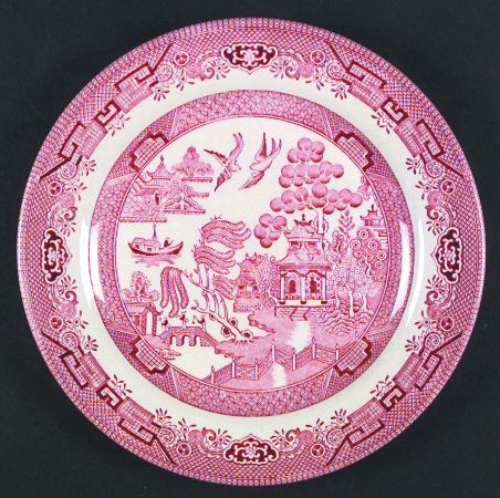 Churchill Willow Rosa Pink England Replacements I Also Like The Churchill Blue Willow A Lot Pink Dinner Plates Willow Pattern Pink China